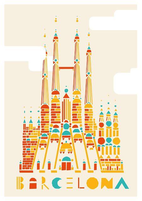 Barcelona, travel, spain, la Sagrada Família, Gaudí, Guadi, poster, church…