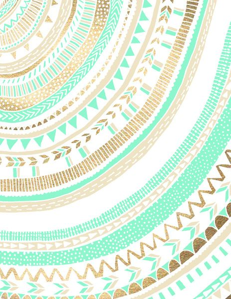Mint + Gold Tribal Art Print                                                                                                                                                                                 More