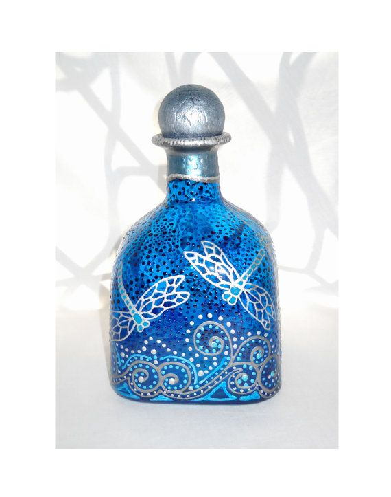 Dragonfly Art on Glass Patron Bottle Hand Painted Decanter Home Decor, Message in a Bottle