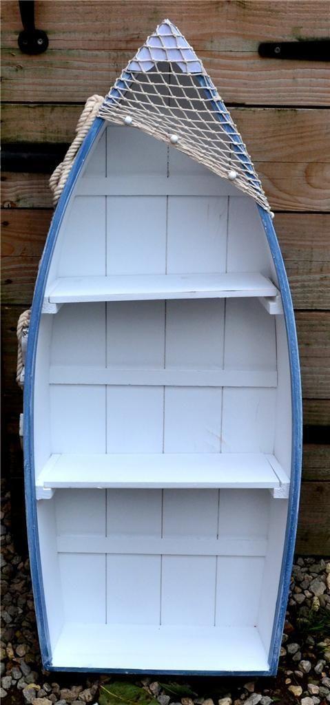 62cm WOODEN BLUE & WHITE ROWING BOAT SHELVES Nautical Seaside Shelf Unit | eBay