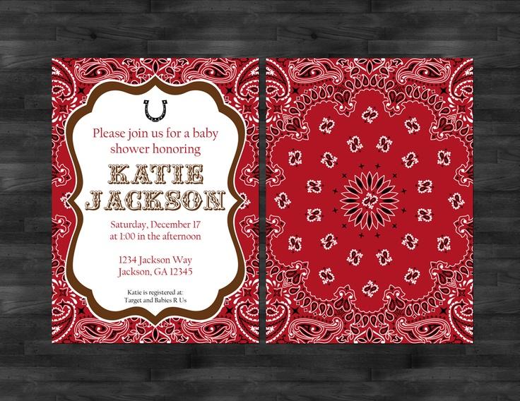 www.pictureportaldesigns.com  Country baby shower invitation, cowboy baby shower invitation, bandana baby shower invitation, horseshoe baby shower design.  www.11Sixteen.com