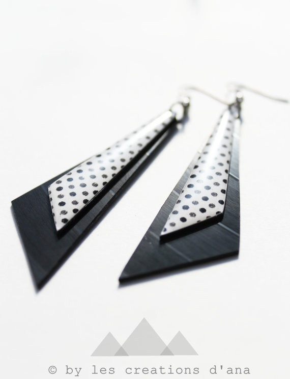 long upcycled earrings japanese paper on by LesCreationsdAna
