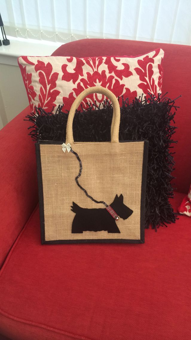 Jute Bag - Scottie Dog design