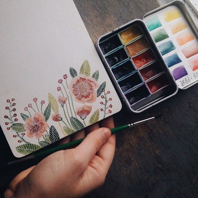***WATERCOLOR TIN MADE USING MY SMALL IKEA TIN BOX WITH DELICATE FLOWER PATTERN*** More