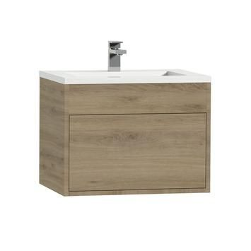 Tiger Helsinki badkamermeubel 60 cm chalet eiken met wastafel polybeton hoogglans wit kopen? Verfraai je huis & tuin met Badkamermeubelen van KARWEI