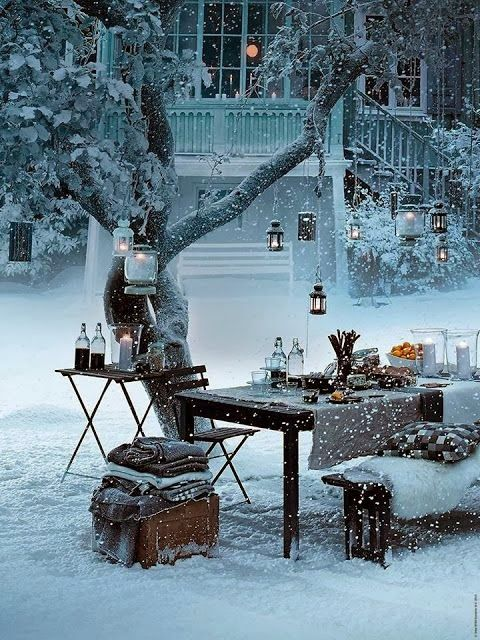 Who said you can't eat outside in the winter - Not us! let it snow...let it snow...let it snow