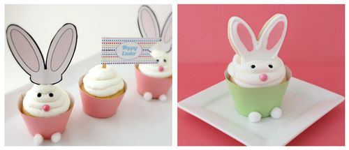 Easter Bunny Cupcakes.  Collaborated post with @sugarbelle- cupcake idea and printables from @30daysblog. Fun for Easter!