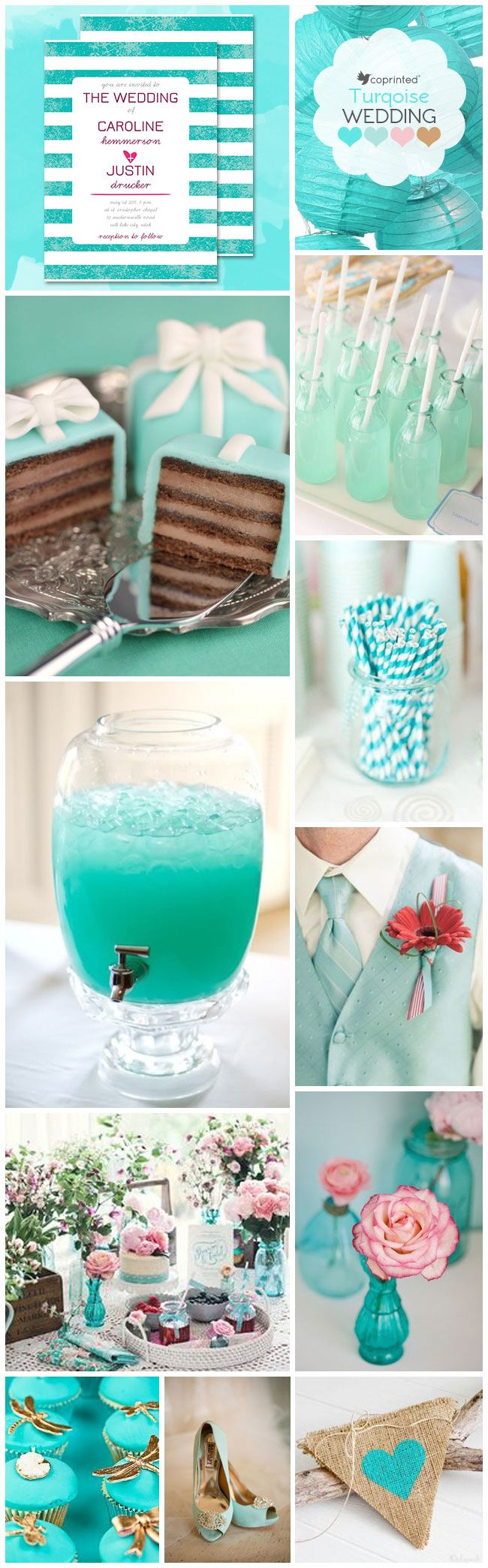 inspiration board with turquoise stationery