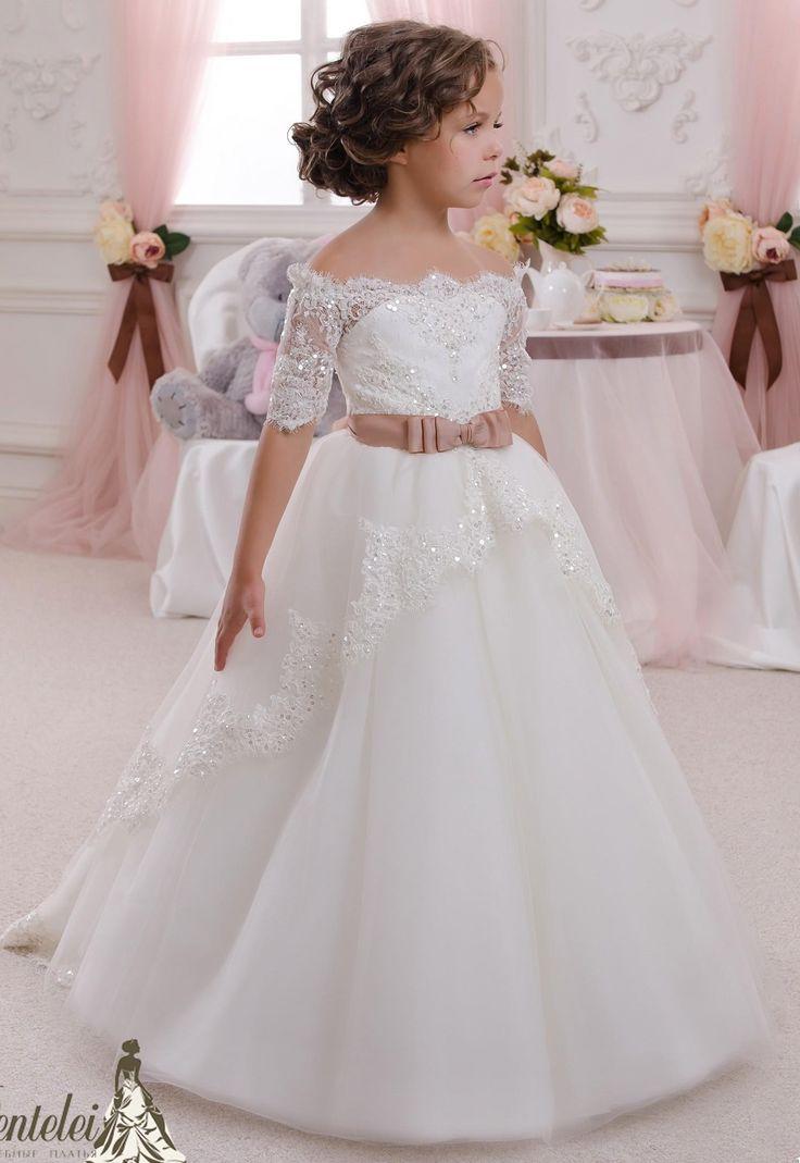 2016 Beaded Lace Short Sleeves Tulle Flower Girl Dresses Vintage Child Pageant Dresses Holy Communion Flower Girl Wedding Dresses
