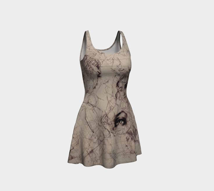 """Flare+Dress+""""Renaissance+Style+Life+Drawings+Old+Paper+Texture+Pattern""""+by+Jocelyn+Ball"""