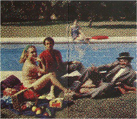 Alain Jacquet, le déjeuner sur l'herbe, 1964 - article- references de  Manet: Le Déjeuner sur l'Herbe, histoire d'une oeuvre Aussi (en anglais: http://www.musee-orsay.fr/index.php?id=851&L=1&tx_commentaire_pi1[showUid]=7123 https://www.youtube.com/watch?v=1Lasn54lPsE