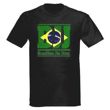 100 percent Cotton Brazilian Flag Jiu Jitsu T shirt in Black with BJJ...