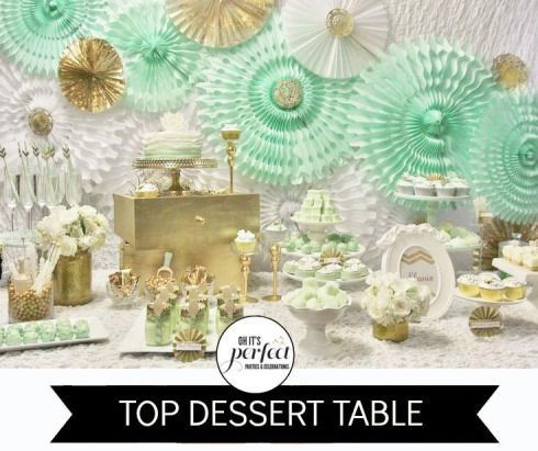 Mint Green Gold And White Party Decor Baptism