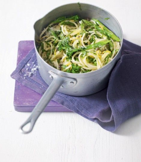 A springtime recipe that makes the most of the asparagus in this vegetarian pasta dish made with capers, lemon, parsley and parmesan.