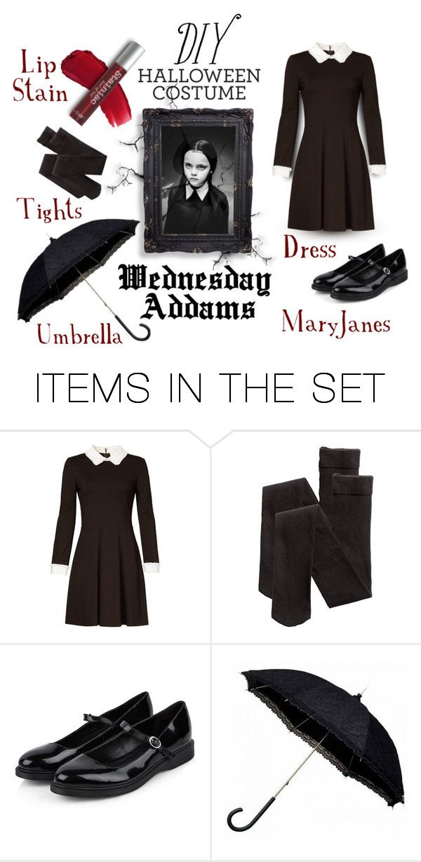 """""""DIY Wednesday Addams Costume"""" by mandy-ruth ❤ liked on Polyvore featuring art"""