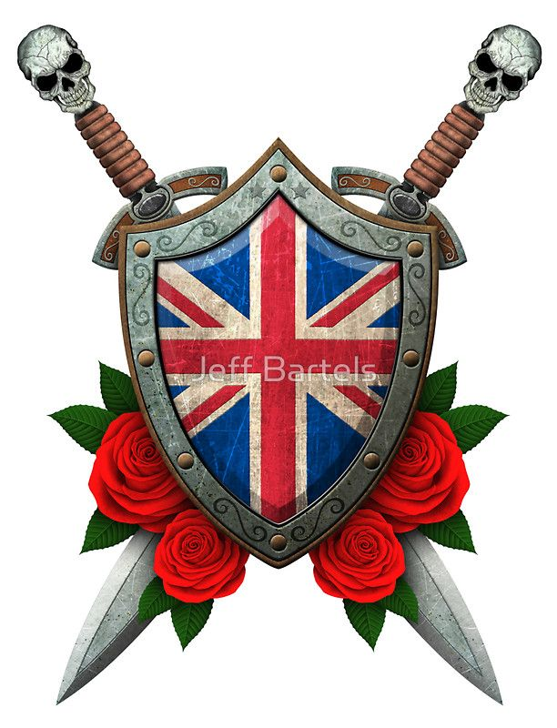 Union Jack British Flag on a Worn Shield and Crossed Swords   Sticker