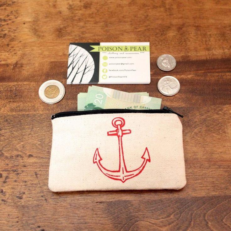 Canvas Anchor Print Zipper Coin Pouch Mini Wallet