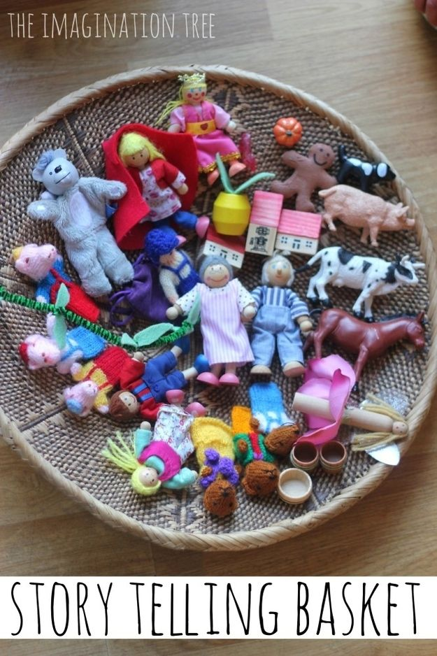 Keep a basket of small toys and figures for visual storytelling.