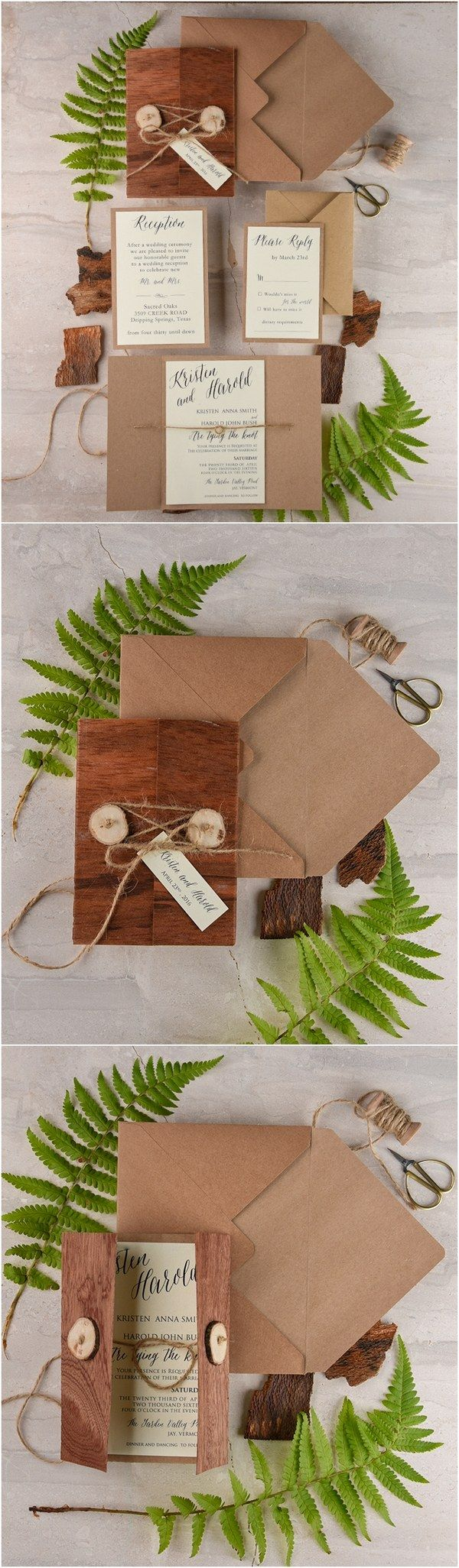 Rustic real wood wedding invitation kit @4LOVEPolkaDots