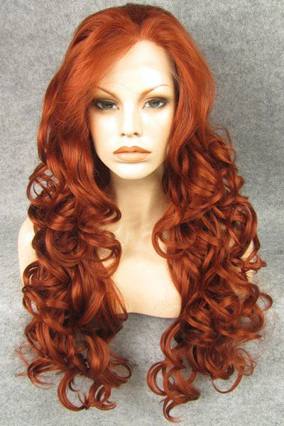 Jan 13, 2020 - Chic Inclined Bang Fluffy Long Copper Red Wavy Synthetic Wig For Women