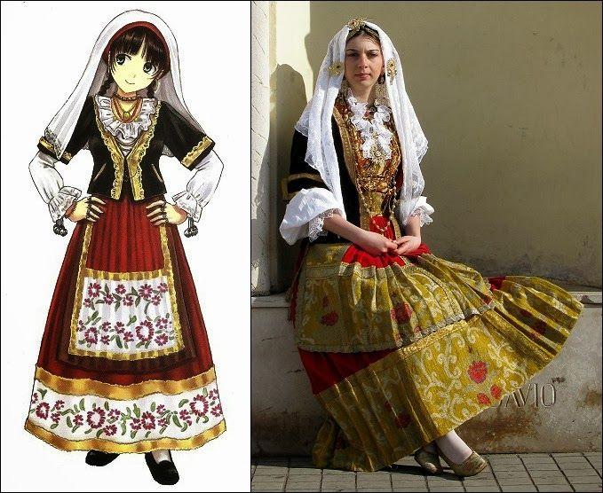 Traditional Clothes of Sardinia, Italy