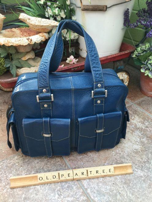 Tommy Kate Navy Royal Blue Leather Handbag Large Buckle