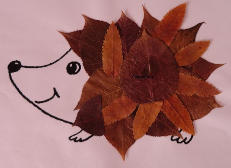 Here's a very simple craft: draw an outline of any animal and let the kids decorate it in with leaves!