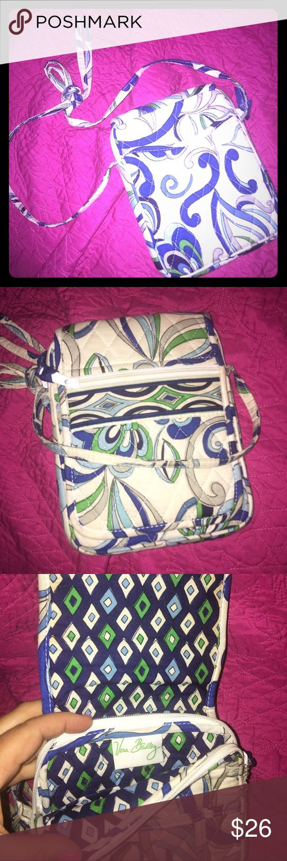 Vera Bradley Mediterranean retired print hipster Vera Bradley Crossbody. Style name is Mediterranean. Retired pattern. White, blue and green. Non smoker.                 Disclaimer: I video all packaging up of items to protect both buyer and seller. Vera Bradley Bags Crossbody Bags