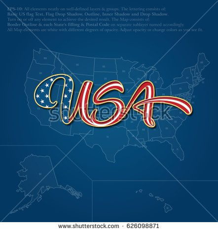 "Vector illustration of a custom-made Lettering of the word ""USA"" over the United States map. The design follows the flow of a waving American flag. All elements neatly on well-defined layers & groups"