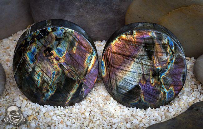 Silver/purple spectralite stone plugs