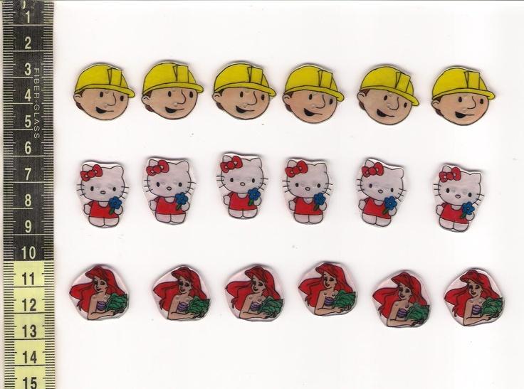 Hello Kitty, Bob, Ariel disney hercegnő gomb 6 db, Dekoráció, Baba-mama-gyerek, Dísz, Meska