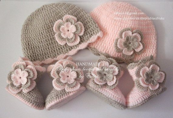 Crochet baby set for twins, baby girl, hat, beanie, shoes, boots, pastel, pink, light tan, flower, photo prop, 0-3 months, baby shower gift