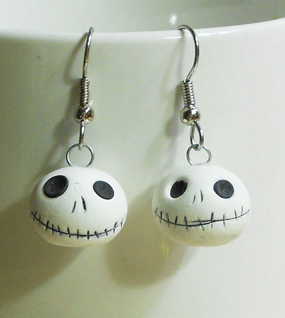 Jack Skellington earrings, I could make these...with tiny painted stones or clay!