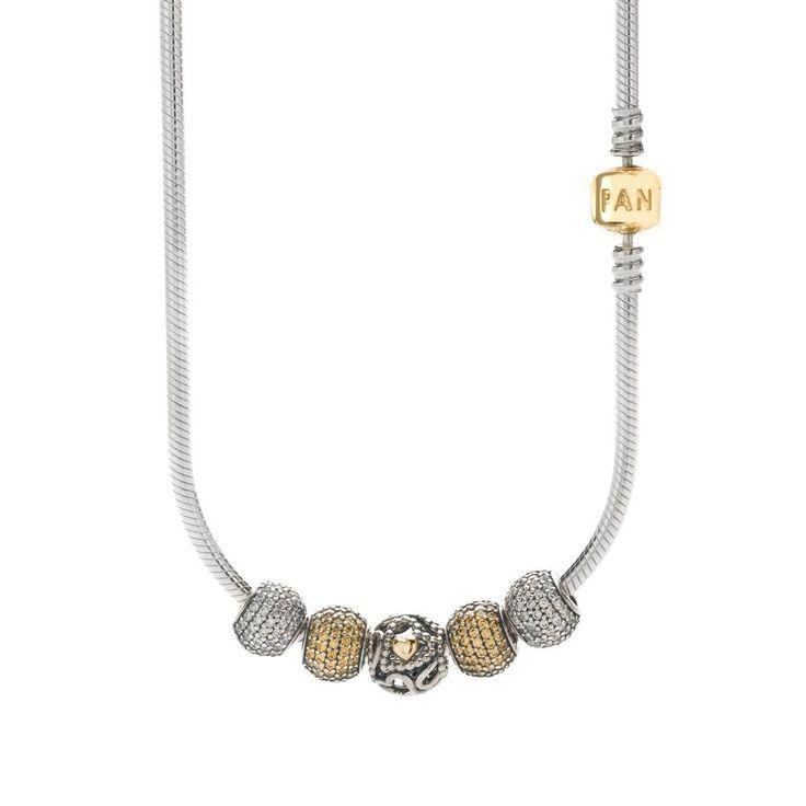 Pandora Glittering Hearts Silver Gold Necklace