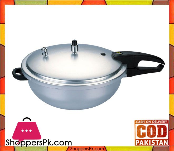On Sale: Kitchen King Wok Style Pressure Cooker 9 Liter Price Rs. 3800 https://www.shopperspk.com/product/kitchen-king-wok-style-pressure-cooker-9-liter/