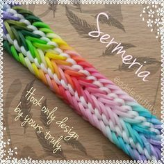 ... Sermeria Bracelet Hook only Designed by adele griffiths Made with 23 different opaque colours and white. All official rainbow loom bands. ....