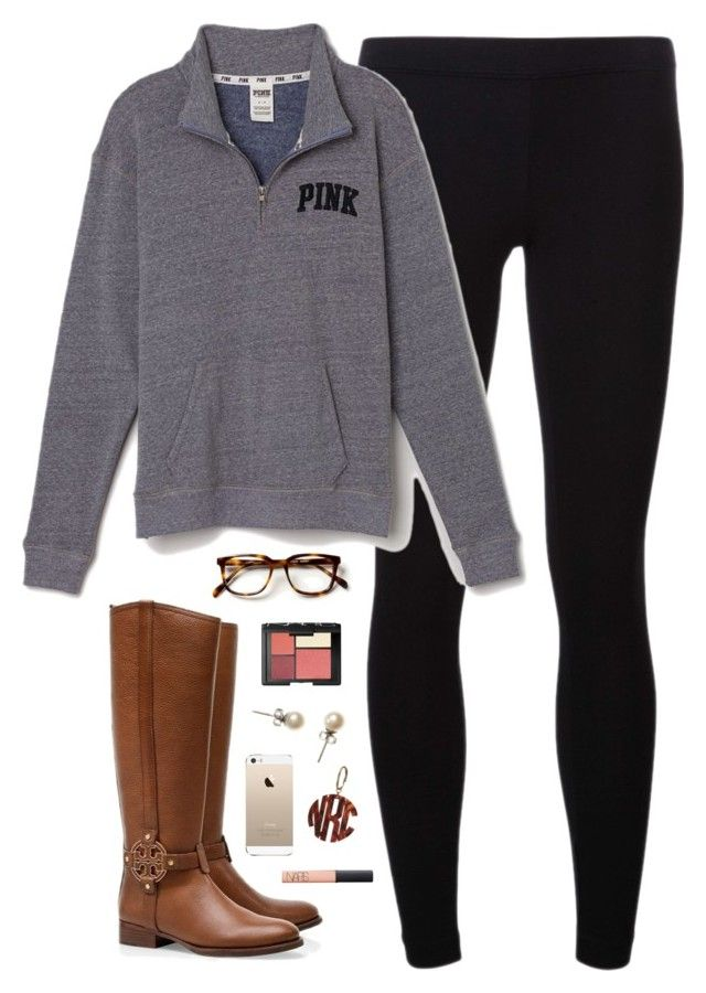 """""""lazyyy back to school"""" by classically-preppy ❤ liked on Polyvore featuring James Perse, Victoria's Secret PINK, Tory Burch, NARS Cosmetics and J.Crew"""