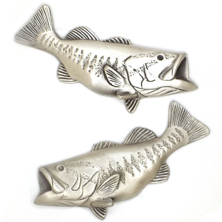Bass Fishing Cabinet and Drawer Knobs cast in fine pewter. Finished in brushed nickel, chrome or custom powder coat colors. From the Sea Life Cabinet Knobs Collection of over 110 coordinated cabinet and drawer pulls designed and sculpted by marine life artist Peter Costello. www.SeaLifeCabinetKnobs.com