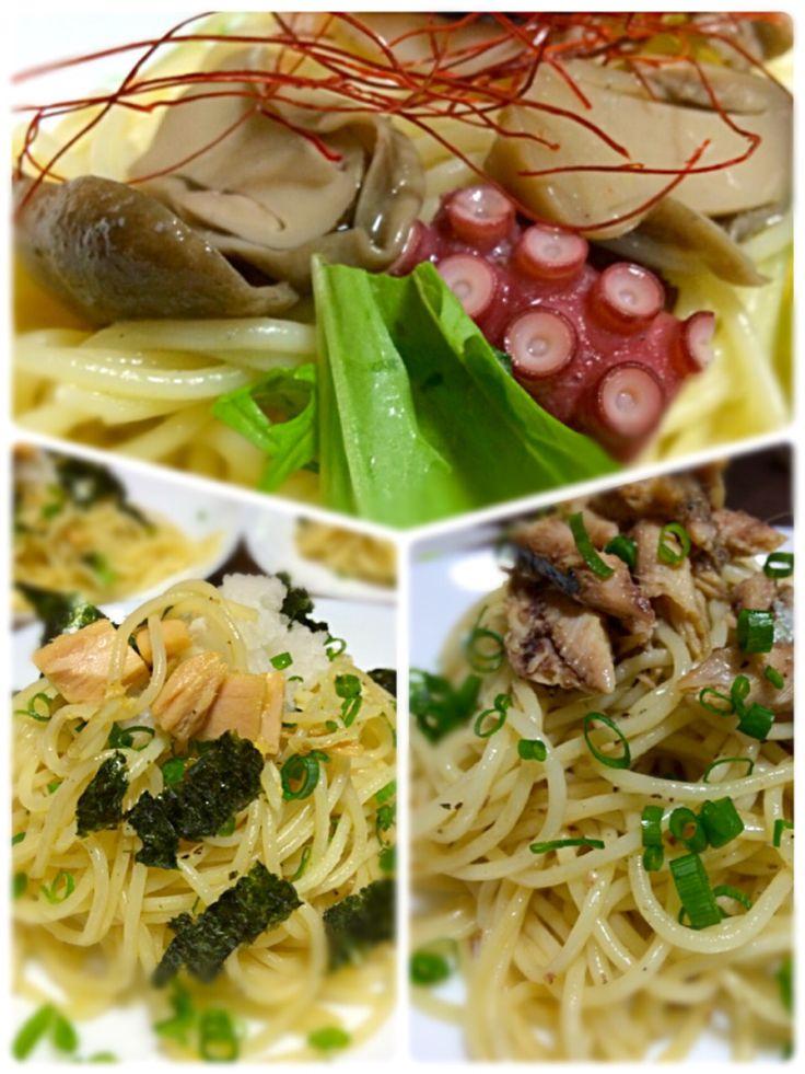 Miki Sanoさんの料理 かぶり茸 ふくろ茸 タコ イカ エビのアヒージョ の翌日は、残ったオリーブオイルを使いパスタ 翌日も無駄なく