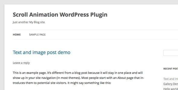 Scroll Animation WordPress Plugin   http://codecanyon.net/item/scroll-animation-wordpress-plugin/6902465?ref=damiamio       Animate your WordPress content while user scrolling.    Features     CSS3 transition.    Optional animation style.    Optional jQuery selector of the WordPress content you want to animate.    Animation trigger when user scroll to the content, you can customize the offset in the backend.    Optional to enable the scroll animation in a certain post/page only…