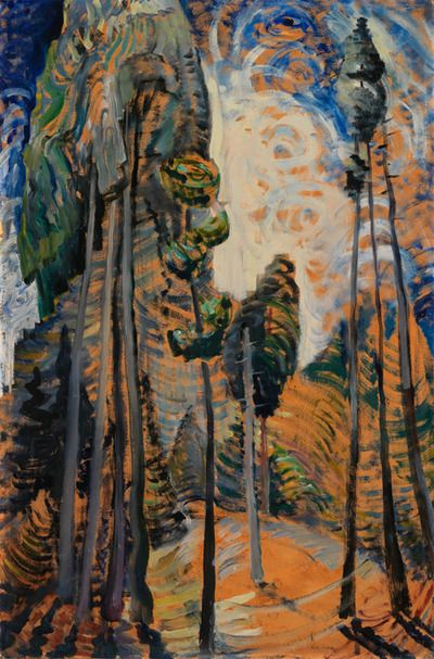 Trees and sky painted by Emily Carr, 1944