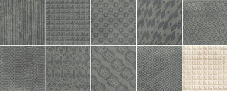 "Midtown 8""x8"" Down-Twenty decors (grey) also available in Up-Twenty (beige). 9 unique designs. #unicomstarker"