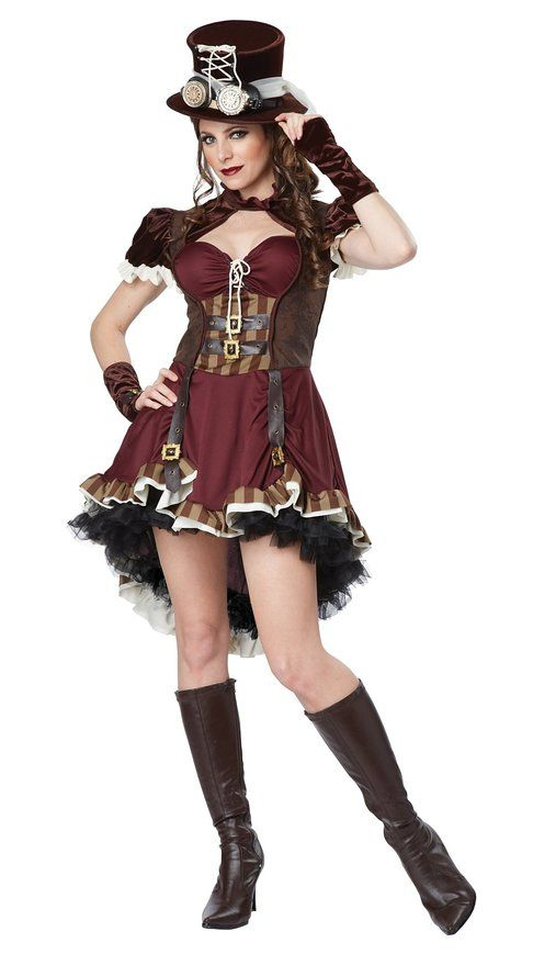 California Costumes Women's Steampunk Girl Costume Color: Burgundy/Brown • 100% Polyester • Imported • Hand Wash • Features a richly colored dress with a stylized hi-lo skirt, dropped v waistline and sweetheart neckline. • Also comes glovelettes, and...