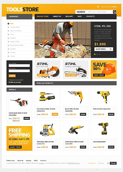 Power Tool - Tool Shop Web Design Layout.  ~ Visit www.robotforce.com for Your very own CUSTOMIZED Version of this Web Design Template! ~