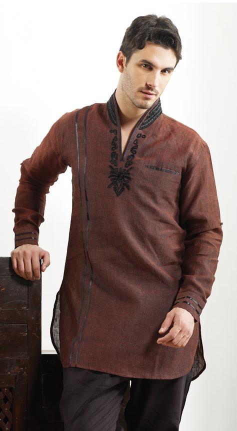 Brown Linen Readymade Kurta @ $89.83 | Shop Now @ http://www.utsavfashion.com/store/item.aspx?icode=mkd24