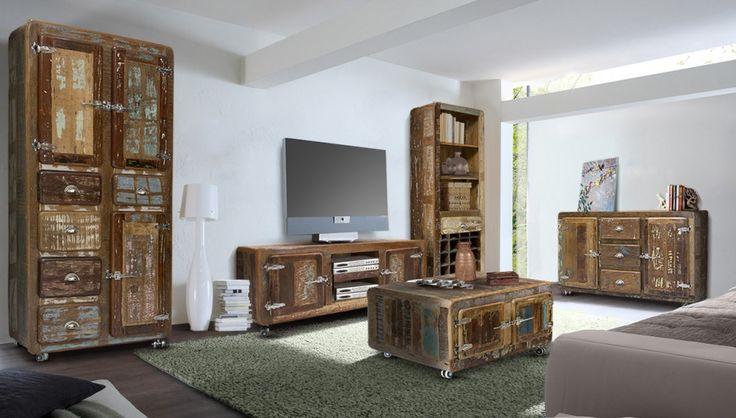 Wohnwand retro  Wohnwand #Retro 3-Teilig - echt Altholz - bunt lackiert ...