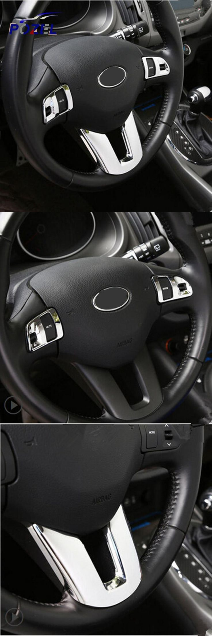 [Visit to Buy] Upgrade ABS Chrome Steering Wheel Sequins For Sportage R Steering Wheel Stickers Case For KIA Sportage R 2012 2013 2014 2015 Car #Advertisement