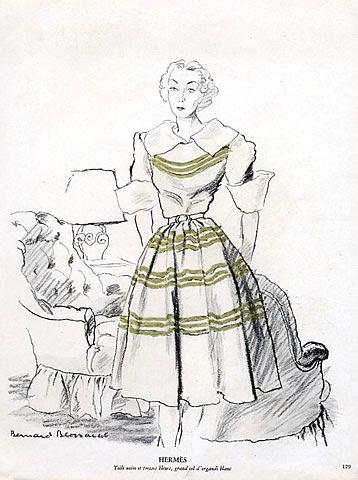 Hermès (Couture) 1945 Dress, Bernard Blossac, Fashion Illustration