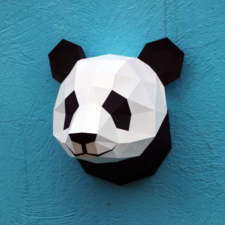 Papercrafr panda head for wall decoration. Buy DIY-template on etsy.com/shop/WastePaperHead.