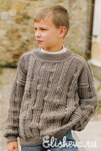Коричневый пуловер для мальчика вязаный спицами   Блог elisheva.ru